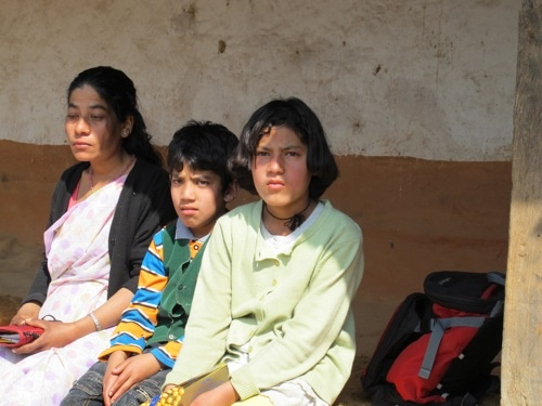 Gyanendra's wife with their children Aswin and Asmita
