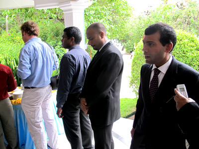 HIS EXCELLENCY: President Nasheed queues up for tea with other participants after announcing his plan to phase out ozone-depleting substances by 2020.