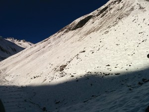 Hundreds of trekkers are still stranded in the Manaslu Circuit (right) where hikers on the trail look like ants amidst the snow cover in a picture taken on Wednesday morning.