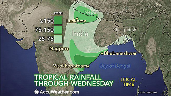 Weather forecast maps like this one by metereologist Eric Leister predicted two days before the storm hit Nepal: 'the core of the heaviest rain into the middle of the new week will likely sweep to the northeast toward the India-Nepal border'.