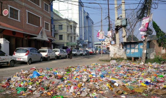 Garbage piles up in Kathmandu