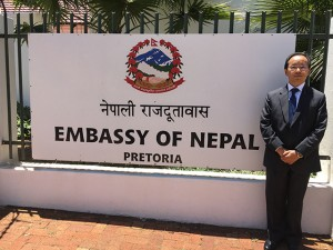 Ambassador Amrit Rai outside the Nepal embassy in Pretoria last week. Rai says Nepal and South Africa face similar challenges in making democracy work for the benefit of their peoples. Photo: Kunda Dixit