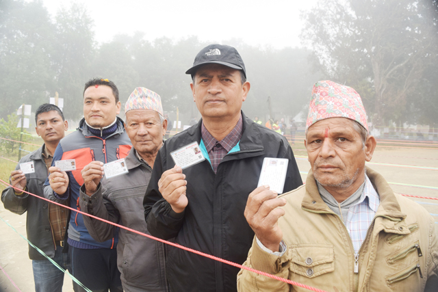 People queue up to cast their vote in Nuwakot. Pic: RSS