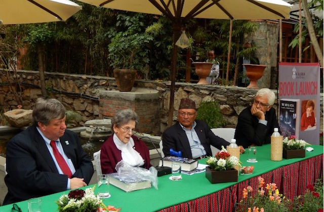 Elizabeth Hawley (second, left) at the launch of her book The Nepal Scene: Chronicles of Elizabeth Hawley 1988-2007 at Dwarika's Hotel a week before the 2015 earthquake. From left: US Ambassador Peter Bodde, Ambassador Bhekh Bahadur Thapa and Kunda Dixit. Photo: Stephane Huet
