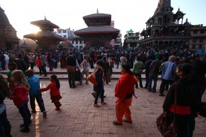 Participants gathered at Patan Durbar Square right before the flash mob was scheduled to start.