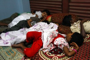 Children slept indoors while waiting for the groom to arrive.