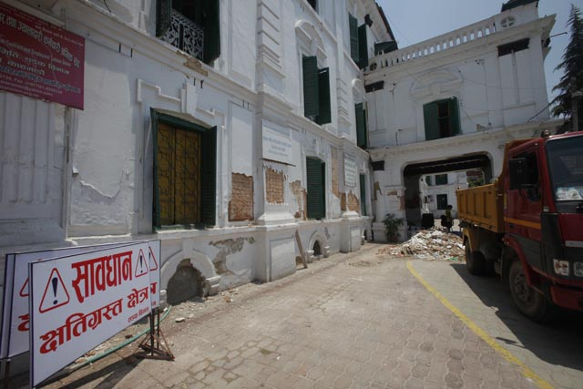 Babar Mahal another Rana palace was further damaged by the aftershock on 12 May.