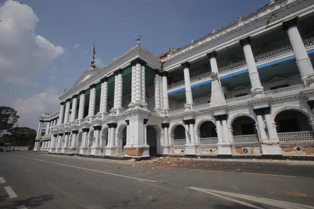 The main building of Singha Darbar was badly damaged by the earthquake on 25 April.