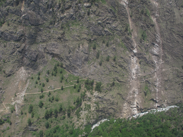 This trail on the Manaslu Circuit is heavily damaged by landslides.