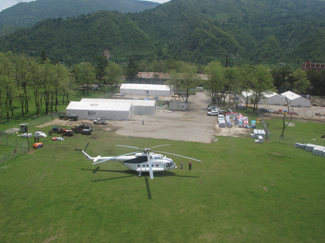 The WFP logistics base camp at Abu Khaireni from where supplies are flown out in up to six flights a day to villages in northern Gorkha.