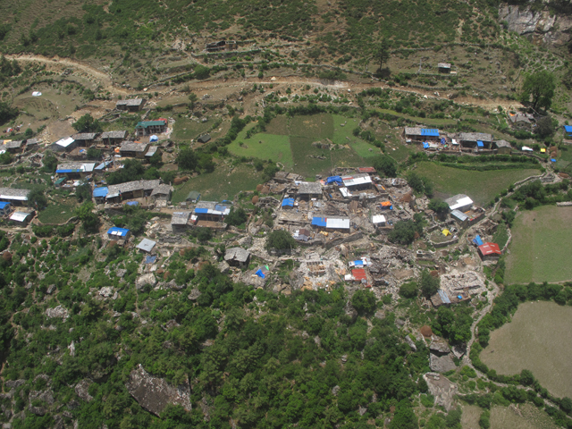 The main village of Chhekampar in Tsum Valley looks deserted.
