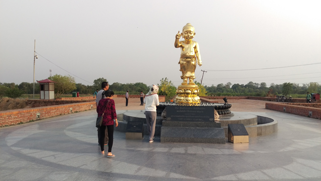 The other was the surprising sight of a golden figure of the Little Buddha outside the museum complex in which he points to the sky with the forefinger of his right hand and down to the ground with his left.
