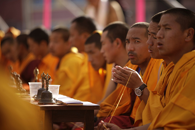 Buddhist monks performs ritual prayers during the consecration ceremony of Boudhanath Stupa.