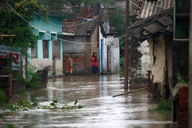 A village in, Janakpur is inundated following heavy rainfall.