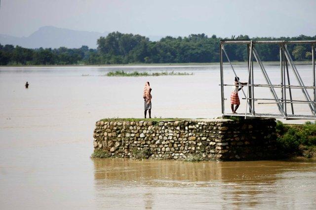 The flood swept away the bridge in Saptari.