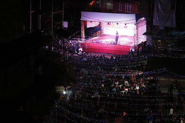 Newari musical performance draws a large crowd in Patan.