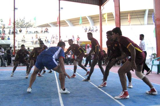 Nepali players won against Sri Lanka in kabbadi in the South Asian Games. PHOTO SURESH NEUPANE