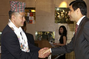 New York City Comptroller John Liu with Gyan Chandra Acharya at the Non-Resident Nepalis Association National Coordination Council (USA) program, held at Intercontinental Hotel, Time Square, New York City on Sunday. SAHARA SHRESTHA