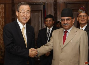 nited Nations Secretary-General Ban Ki-Moon with then prime minister Pushpa Kamal Dahal in Katmandu, during his visit to Nepal in 2008