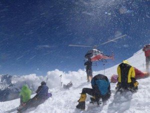 Rescue underway at the site of the avalanche