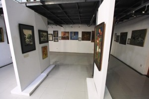 The first floor of the exhibition on Nepali modern art.  Photo: Cindrey Liu.