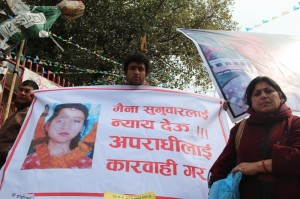 LONG WAIT: Debi Sunuwar demanding justice at Baluwatar for her daughter Maina Sunuwar who was allegedly tortured and killed in 2004.