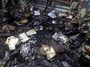 Books that were destroyed by the fire.  Credit : Nepal Army