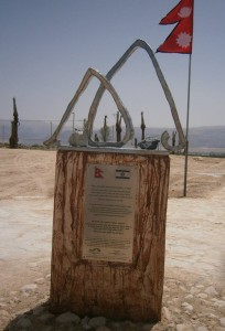 The monument that has embedded stones from Mt Everest is at the Ecological Park in the southern part of the Dead Sea. Photo: Courtesy.