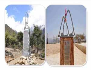 Monuments in Nepal and Israel.