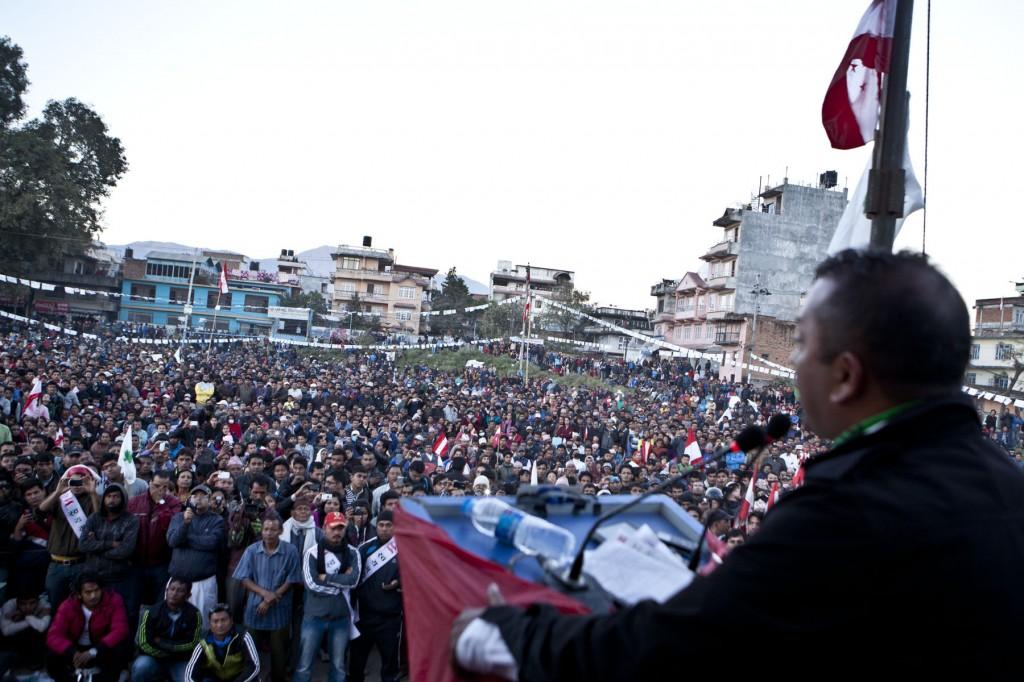 STANDING TALL: Kathmandu-4 candidate and NC youth leader Gagan Thapa addresses a mass gathering at Sifal Chaur on Saturday. (Pic: Kashish Das Shrestha)