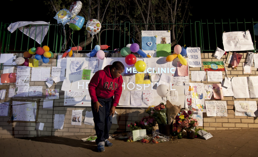 People left get well cards and did prayer vigils for Nelson Mandela during the time he was at Mediclinic Heart Hospital in Pretoria. He died today at 95-years-old. (AP/BEN CURTIS)