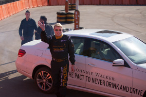 Two-Time F1 World Champion Mika Häkkinen after demonstrating his superb driving skills as part of Johnnie Walker's responsible drinking campaign 'Join The Pact' in Dwarko.