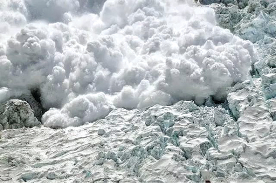 The avalanche that swept down to the Khumbu Icefall on 18 April as seen from Mt Everest Base Camp.