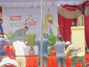 Chief Secretary Leela Mani Poudel inaugurates the Nepali Times Eco Fair on Thursday.
