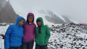 (l-r) Maya Sherpa, Pasang Lhamu Sherpa and Dawa Yangzum Sherpa are part of the K2 Women for Change Expedition