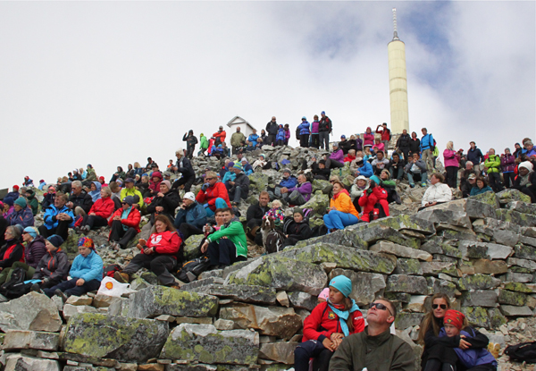 Several hundred people filled the fog-shrouded slope just below the summit of Gaustadtoppen in Norway for the inauguration of steps