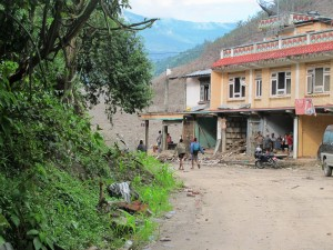 Coming up the road from Lamosangu, this scene is typical of the generally unkempt roadsides along Nepal's highways