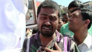 Puja's father Badri Narayan Sah at the protest demanding justice for his daughter