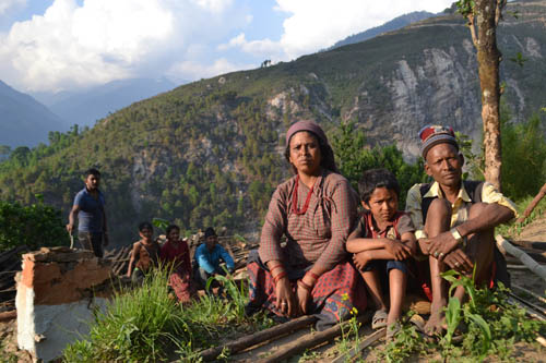 Prem Bahadur Biswokarma's family in Pangtang, Sindhupalchok.  Photo: Om Astha Rai
