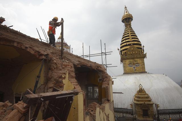 The surroundings of Swayambhu stupa have been badly damaged. Pic: Gopen Rai