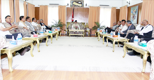 Senior Leaders of four political parties Nepali Congress, CPN (UML), UCPN (Maoist) and Madhesi Janadhikar Forum (Loktantrik) during a meeting chair by the Prime Minister Sushil Koirala held on Monday at PM's Official Residence Baluwatar, Kathmandu. Photo: Kumar Shrestha, RSSs