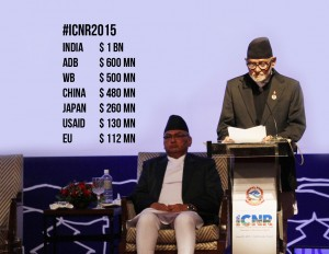 Prime Minister Sushil Koirala addresses an opening ceremony of the International Conference on Nepal's Reconstruction (ICNR) 'Towards Resilient Nepal' held in the Kathmandu on Thursday. Photo: Kumar Shrerstha, RSS