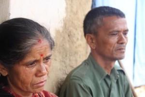 Manju and Devraj Khadka, Sabin's parents wait for news about him. Photo: Devaki Bista