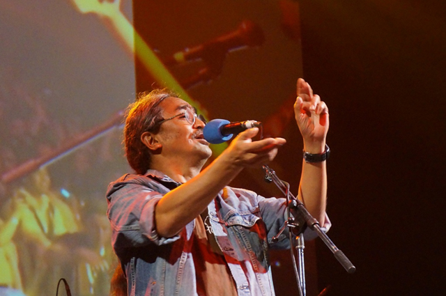 Amrit Gurung during Nepathya's performance at Wembley Arena on 3 August 2013