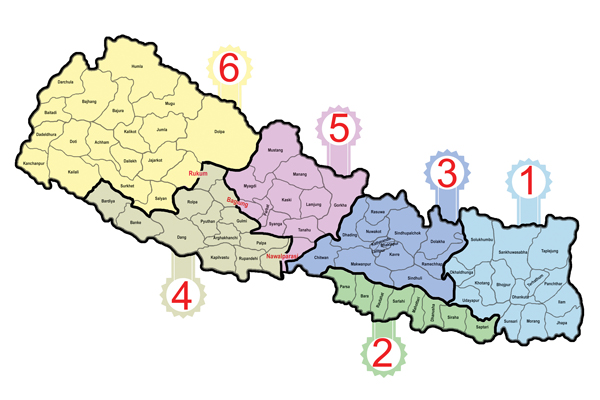 Map of federal Nepal