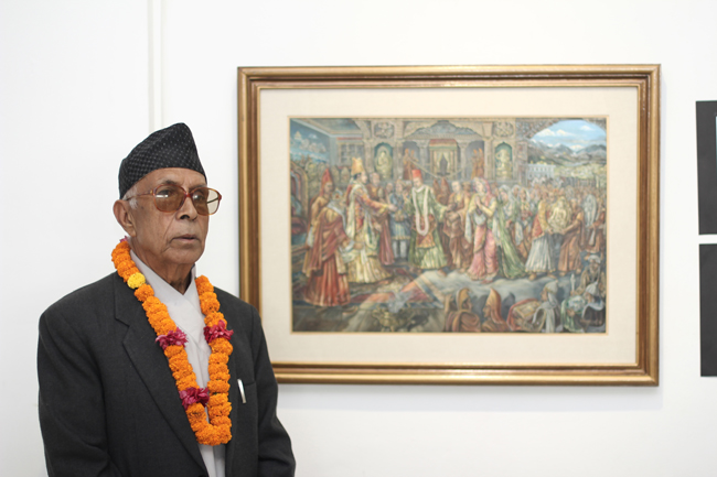 Hari Prasad Sharma with his favourite painting