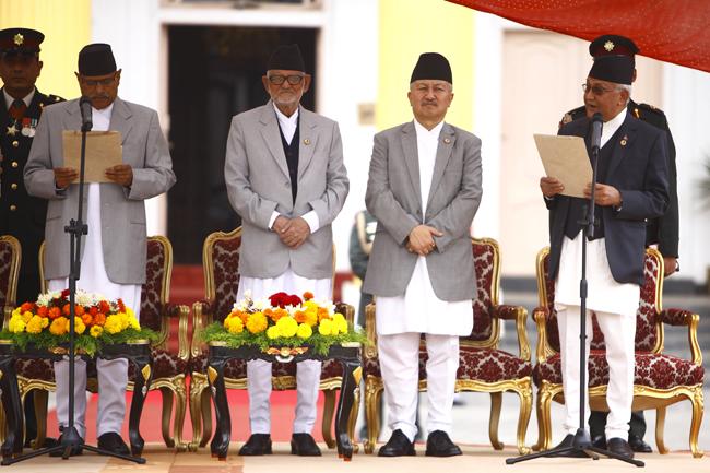 KP Sharma Oli sworn in as new Prime Minister
