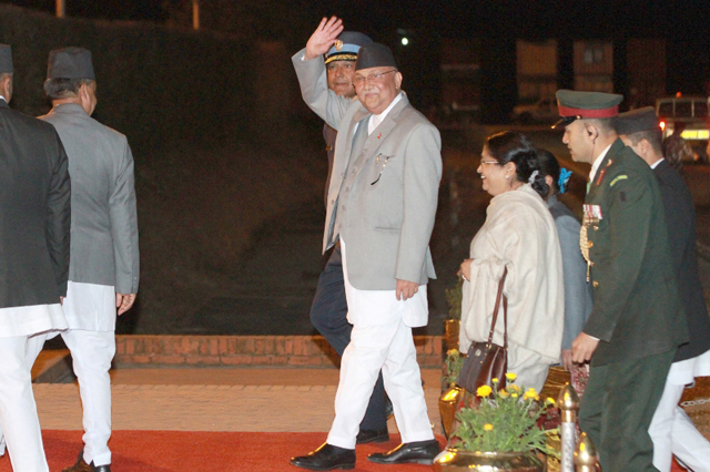Prime Minster KP Oli returns after his six-day visit to India at Tribhuvan International Airport on Wednesday. Photo: RSS