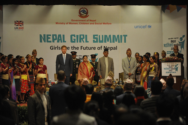 Rt. Hon President Mrs. Bidhya Devi Bhandari along with Prince Harry, other dignitaries as well as adolescents at the Inaugural Session of the Nepal Girl Summit