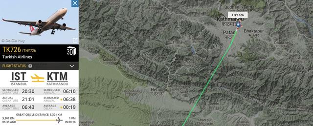 Arrival of TK726 in Kathmandu on Wednesday morning